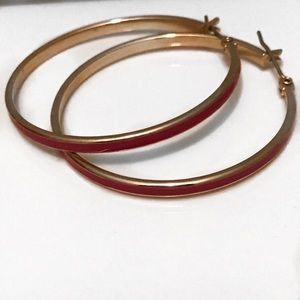 J.Crew Large Thin Pink and Gold Hoop Earrings- EUC